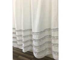 white shower curtain with stone grey ticking stripe ruffle handmade by