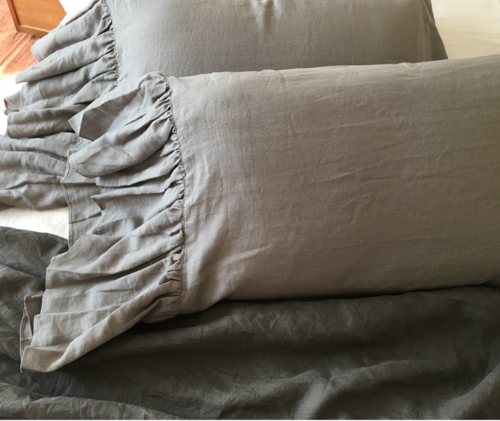 Snuggledown Scandinavian Standard Pillows Pair Medium : Medium Grey Pillow Covers with Long Ruffle Handcrafted by SuperiorCustomLinens.com