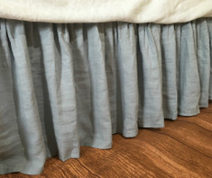 Blue Linen bed skirt | Handcrafted by Superior Custom Linens