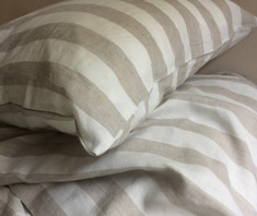 Natural Linen Striped Euro Sham Cover