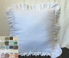 Pleated Ruffled Linen Euro Sham Cover - white linen