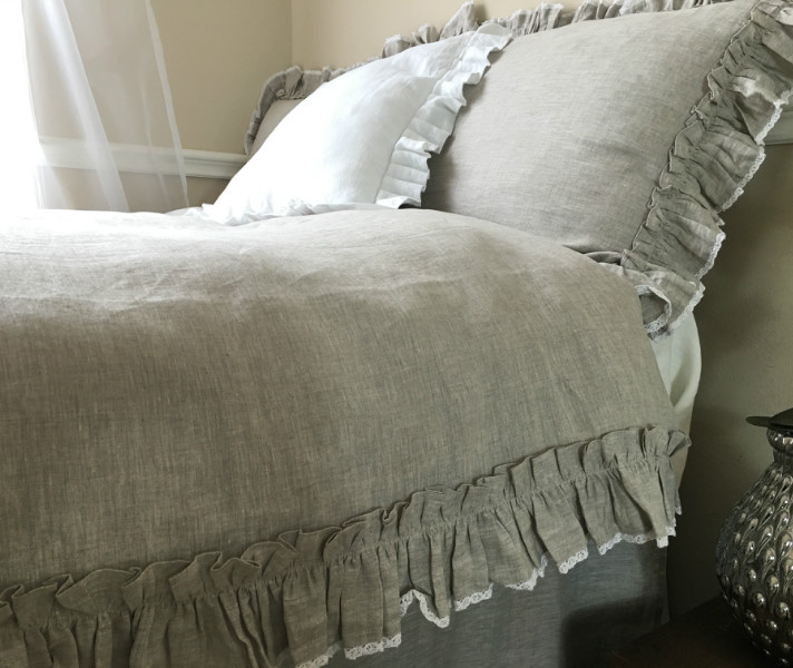 natural linen vintage ruffle duvet cover with white lace