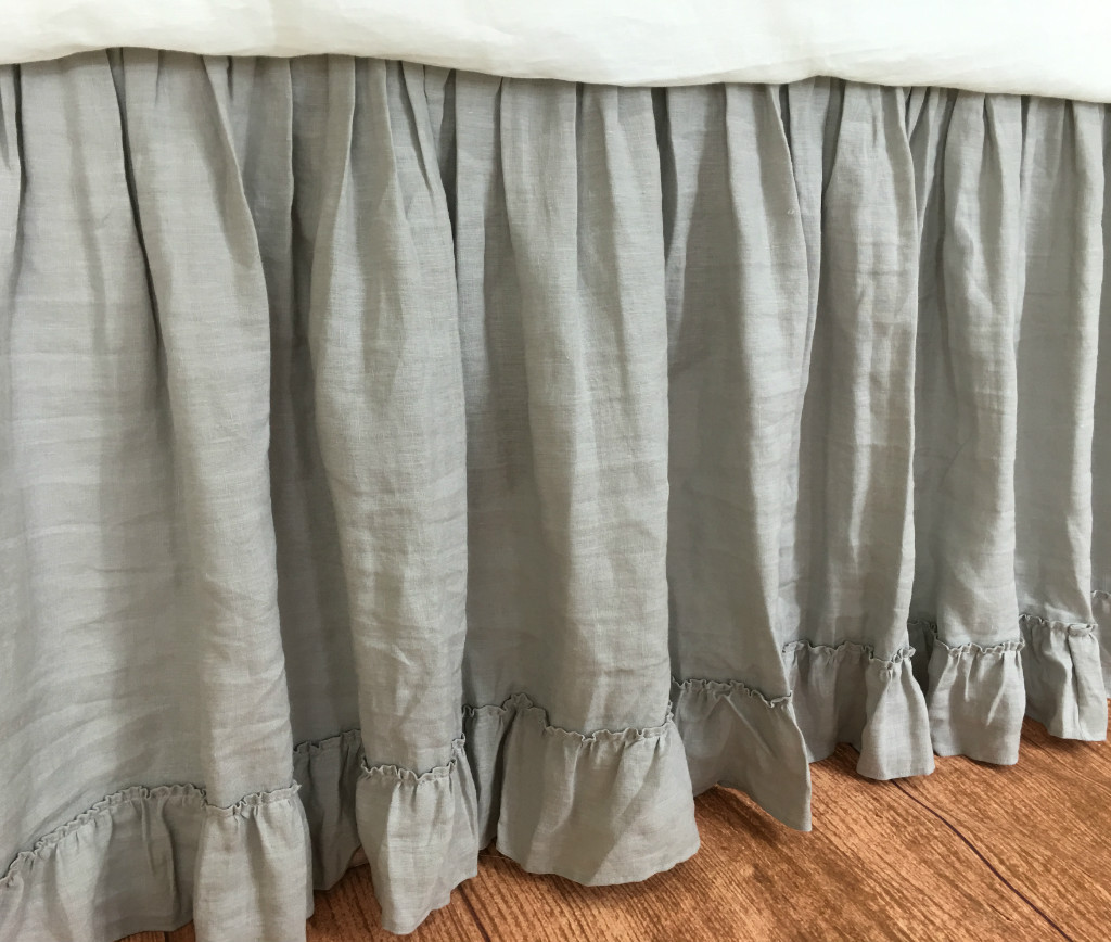Grey Linen King Bed Skirt : Stone grey dust ruffle with country style