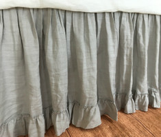 Grey gathered beds skirt