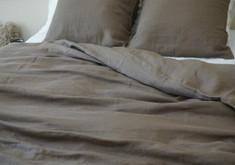 Dark brown duvet cover handmade from natural linen