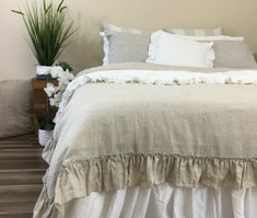 Linen Duvet Cover with Country Ruffles