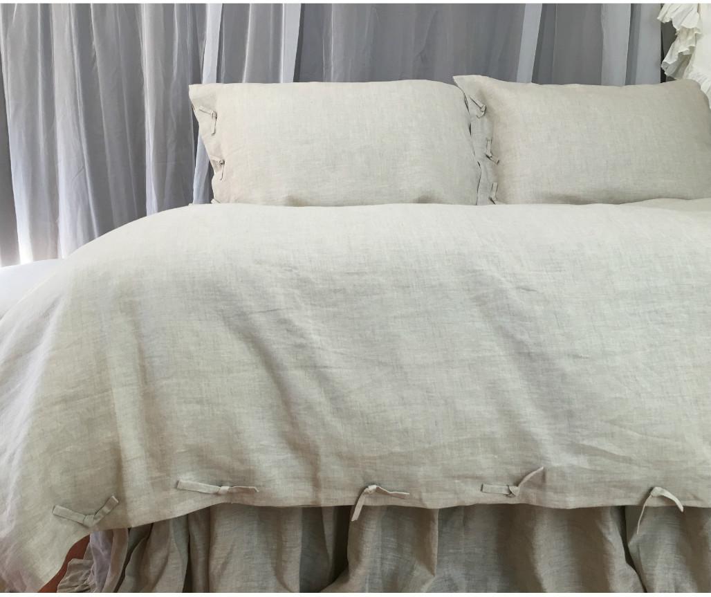 Linen duvet cover with tie knot pick your color custom for Housse de duvet