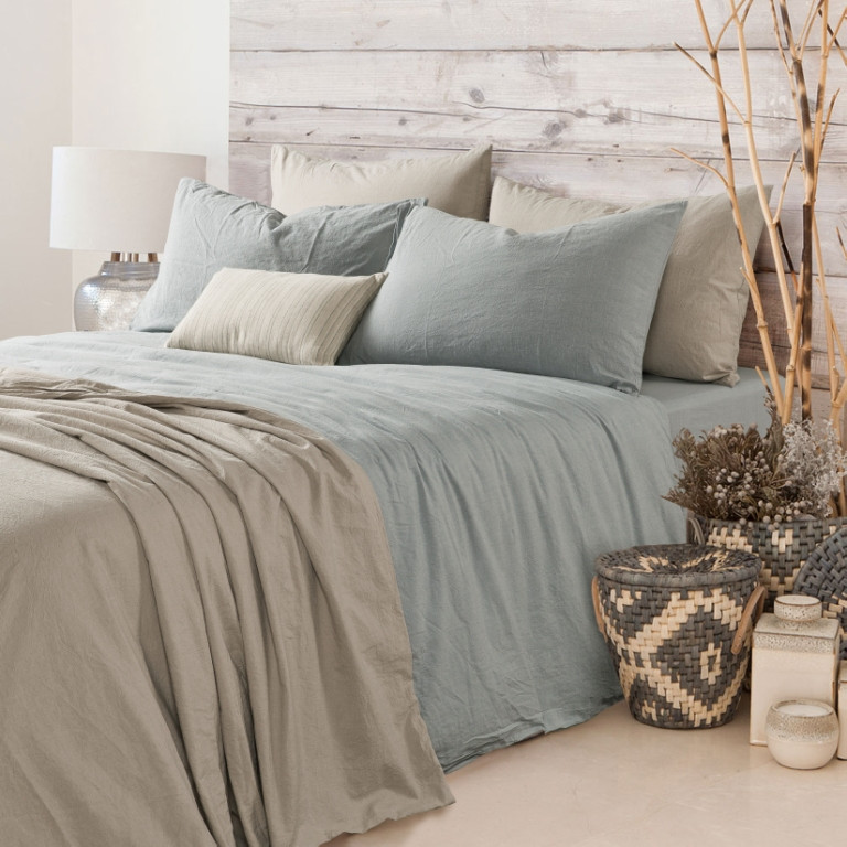 Duck Egg Blue Duvet Cover Natural Linen Greyish Blue