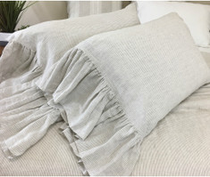 Linen Ticking Striped Pillow Cases with Mermaid Long Ruffles, Forever Ticking Stripe.