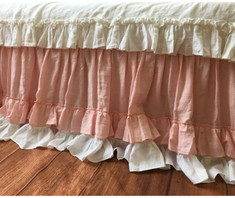 Gathered Bed ruffle with double layered ruffle hem | handmade by SuperiorCustomLinens.com