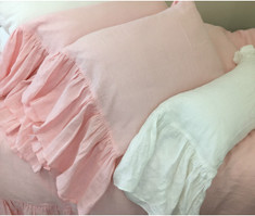Pink Linen Pillow Cases with Mermaid Long Ruffles, Princess Dream!