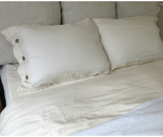 Cream Duvet Cover With Wooden Button Closure Natural