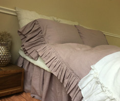 Country ruffle duvet cover with mermaid long ruffle pillow covers