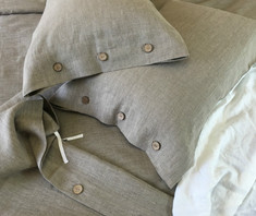 dark linen duvet cover with button closure