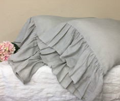 Pair of Stone Grey Pillowcases with Mermaid Long Ruffles, Obsessive Grey Bedding!