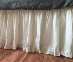 WHITE Linen bedskirt | Handcrafted by Superior Custom Linens