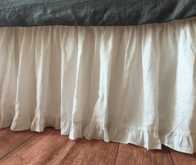 Self Ruffled Bedskirt In White Linen Handcrafted By