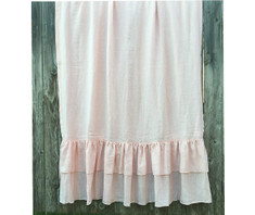 Pink Linen curtains with double rows of ruffle | Handcrafted by SuperiorCustomLinens.com