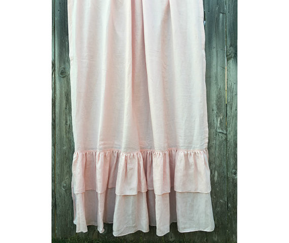 Pink Linen Curtains With Double Rows Of Mermaid Long