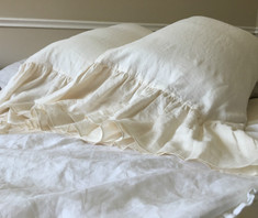 CREAM linen long ruffle pillow cases