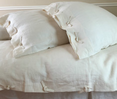 CREAM linen duvet cover with tie knot
