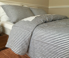 natural linen navy and white stripe duvet cover