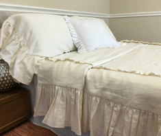 Long ruffle duvet cover handmade in cream linen