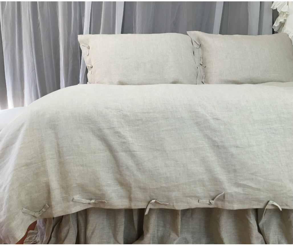 Tie knot style duvet cover linen custom size queen king - Drap housse king size ...