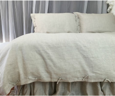 Natural Linen Duvet Cover with Tie Knot Style