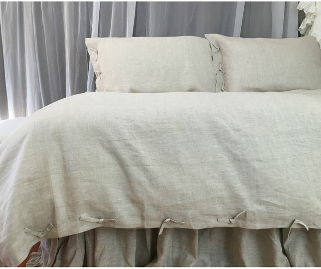 Tie Knot Style Duvet Cover Linen Custom Size Queen King