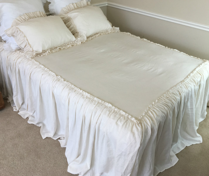 bedspread with ruffle drop and mini. ruffles on top, vintage style