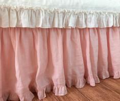 shabby chic bed skirt - handmade in pink linen