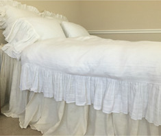 Waterfall ruffle duvet cover handmade in white linen