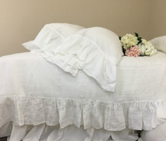 White Linen Duvet Cover with Mermaid Long Ruffles