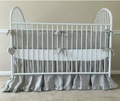Boy crib bumper, handmade with natural linen