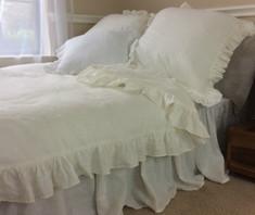 Off white ruffle duvet cover