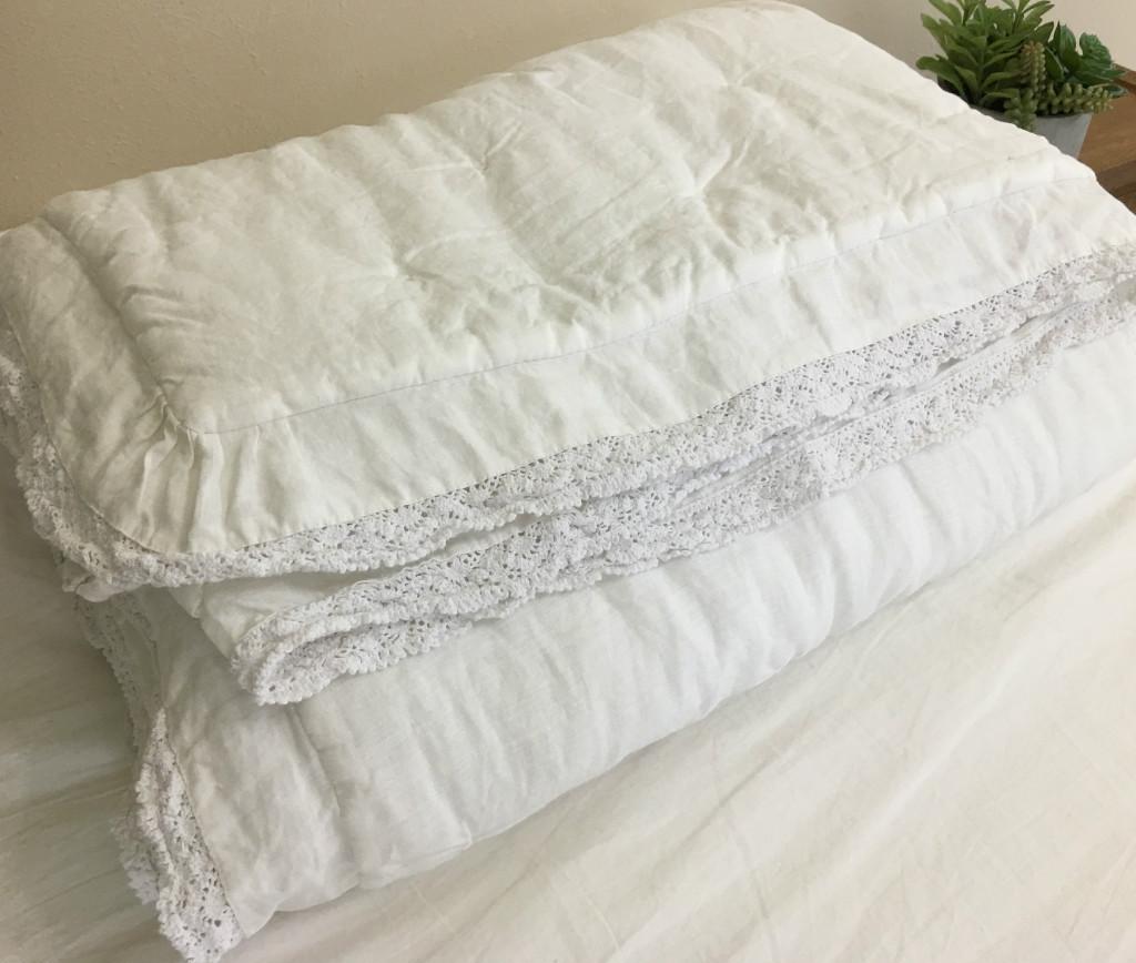 linen comforter summer blanket  handmade by superior custom linens -  linen quilt image
