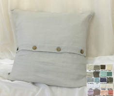 Linen Euro Sham Cover with Wooden Buttons - stone grey