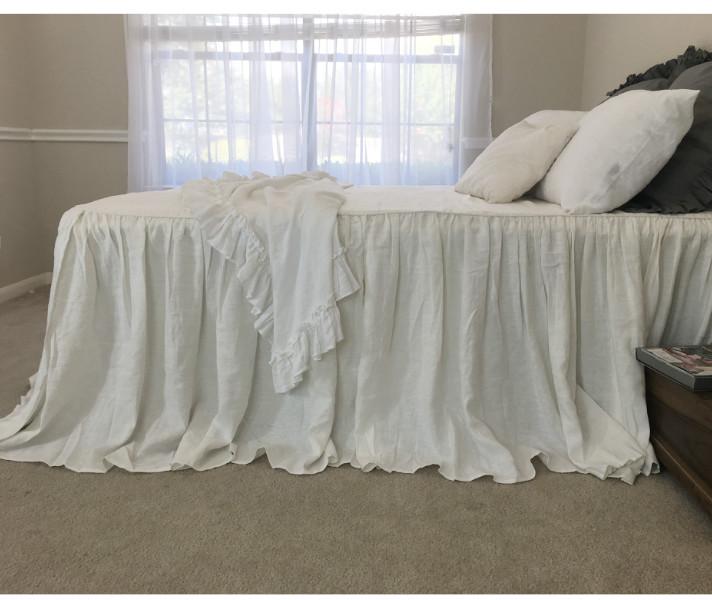 Soft White Bedspread Off White Linen Custom Size Queen