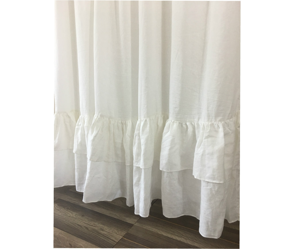 White Long Ruffle Shower Curtain 72x72 72x85 72x94