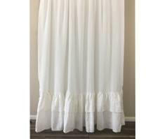 White Shower Curtain with 2 rows of Mermaid long Ruffles