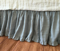 Duck Egg Blue Linen Gathered Bedskirt with Ruffle Hem