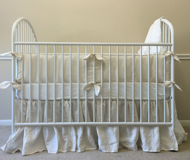 Ivory baby bedding handmade in natural linen