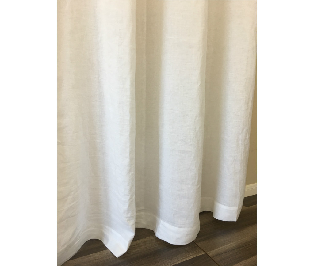 White Linen Curtains Handcrafted By