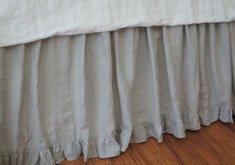 STONE GREY Linen bedskirt | Handcrafted by Superior Custom Linens