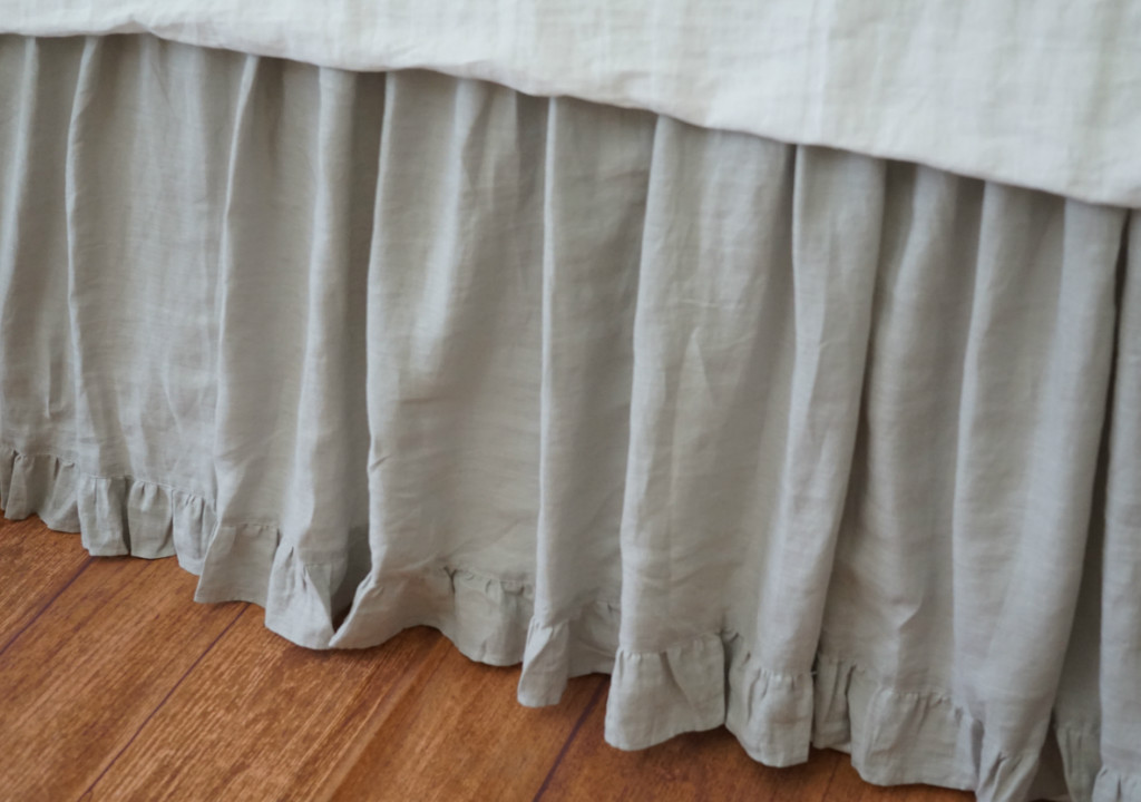 Grey Linen King Bed Skirt : Stone grey gathered bed skirt with ruffle hem