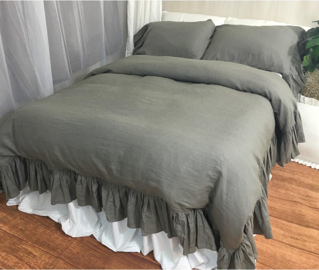 ... Medium Grey Linen Duvet Cover W.