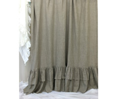 Dark Linen Curtains with Double Layers of Mermaid Long Ruffles, Farm House Style