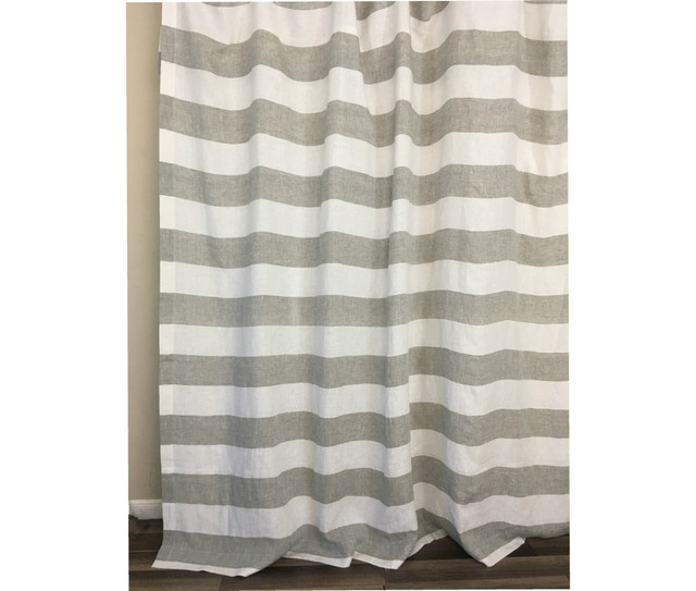 Grey And White Striped Linen Curtain Cabana Stripe Curtains Handcrafted By
