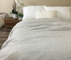 Grey and White Striped Duvet Cover, Reversible